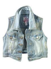 Large Image of Place Denim Vest -Faded Wash *Trend Alert - Must Have*