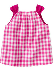 Large Image of Old Navy Gingham Button-Front Top Pink