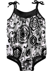 Large Image of Old Navy Printed Bodysuits Black/White