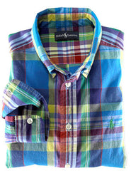 Large Image of Ralph Lauren Turquoise Madras Shirt