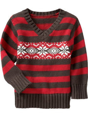 Large Image of Old Navy Fair Isle Sweaters Red