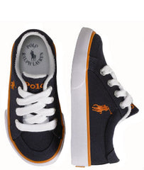 Large Image of Ralph Lauren Sneaker Navy/Orange Stripe