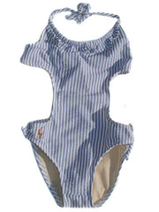Large Image of Ralph Lauren Cut-Out Swimsuit Blue 1 Left