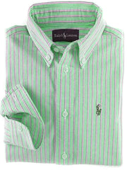Large Image of Ralph Lauren Oxford Stripe Shirt Green