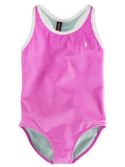 Large Image of Ralph Lauren Pink & White Swimsuit