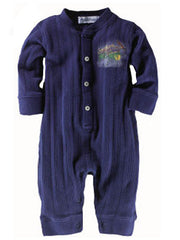 Large Image of Ralph Lauren Henley Ribbed Onesie Navy