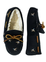 Large Image of Ralph Lauren Suede Slippers Navy