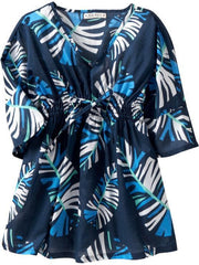 Large Image of Old Navy Tropical Woven Coverup Top Navy