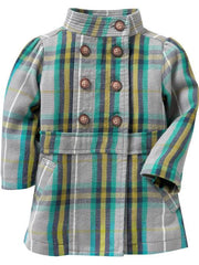 Large Image of Old Navy Plaid Banded Collar Green Coat