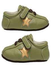 Large Image of Smaller Leather Trainer Avocado