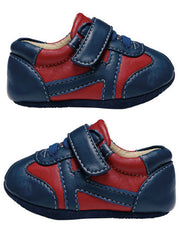 Large Image of Smaller Leather Trainer Red/Navy