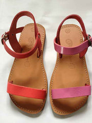 Large Image of Theluto France Leather Sandal Red *Oh My!*