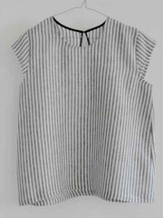 Large Image of VDJ Linen Blouse B&W Striped - 10 - 15yrs *Casual Elegance*