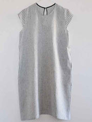 Large Image of VDJ Linen Dress B&W Striped - 10-13yrs *DIVINE*