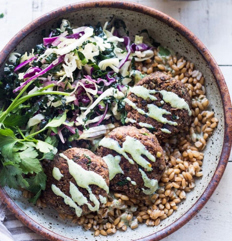 lentil patties with mint yoghurt