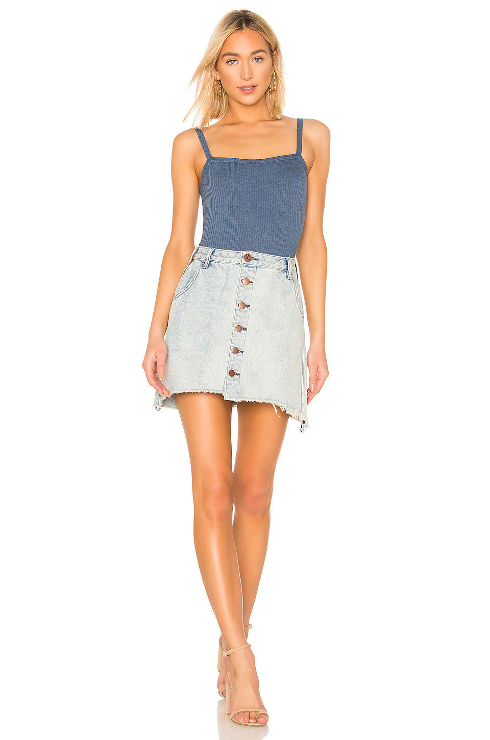 Viper High Waist Button Through Mini Skirt