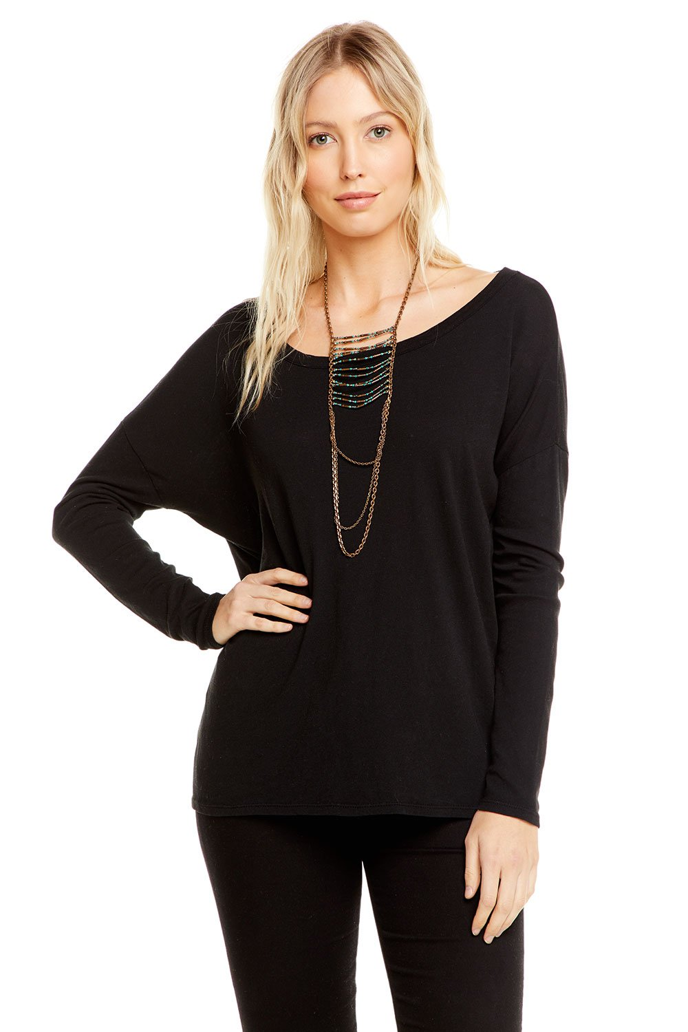 Cotton Basics L/S Crew Neck Seamed Back Dolman Tee