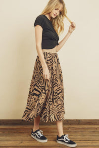 Wild Tiger Pleated Midi