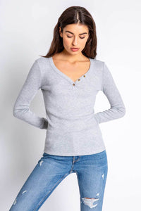 Tex Solid Long Sleeve Top