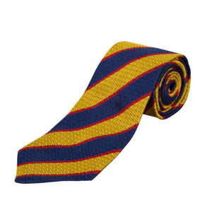 Tie - PWRR - Officers' Club - Blue/Yellow/Red Striped - Silk - Non Crease