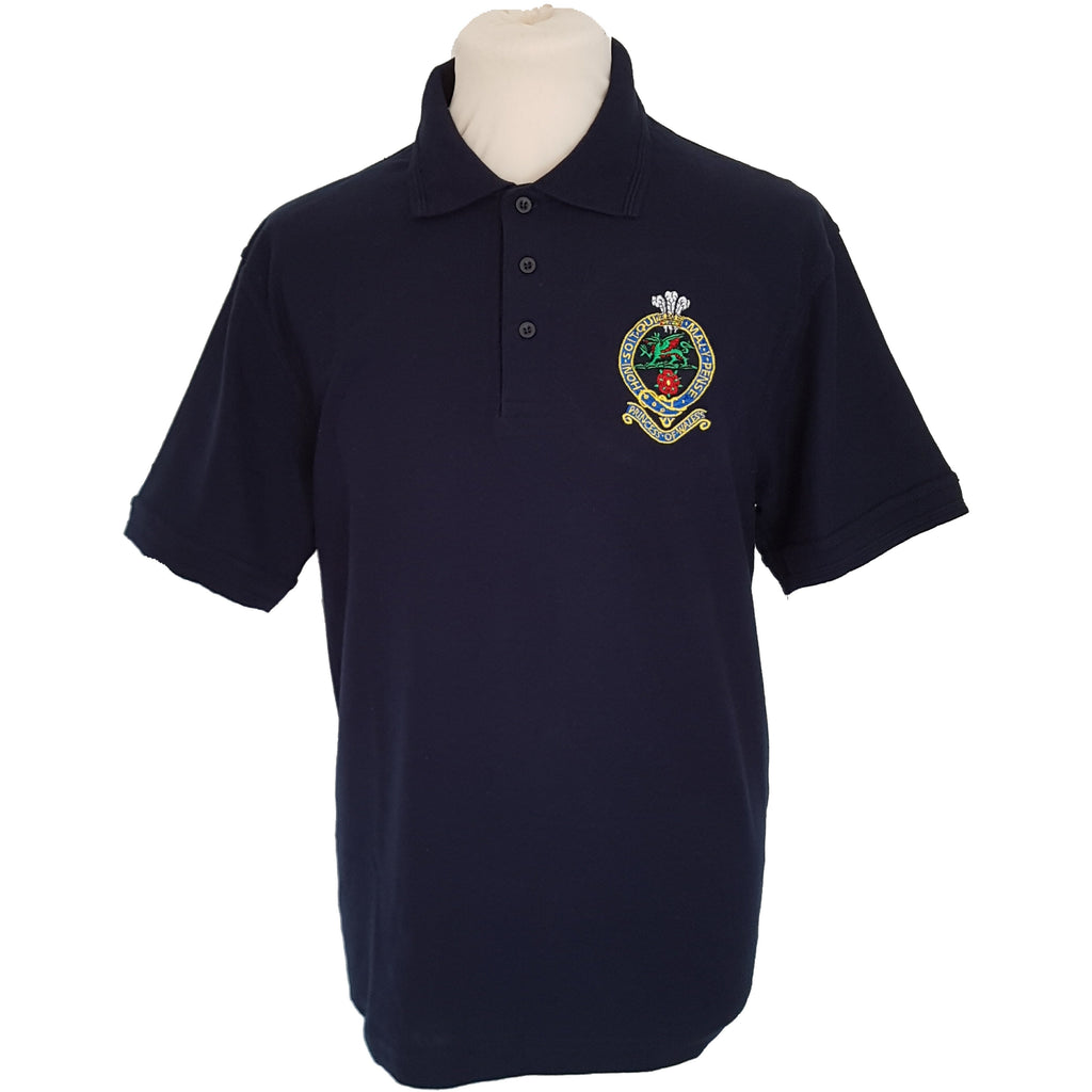 Navy Polo Shirt - Embroidered PWRR Cap Badge