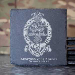 Princess of Wales Royal Regiment Slate Coaster