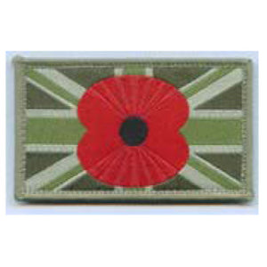 Large Union Patch, MTP, with Poppy in centre - 80 x 50mm - Velcro
