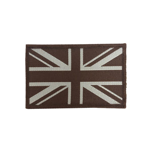 Embroidered Union Jack GB Patch - Desert Tan-pair
