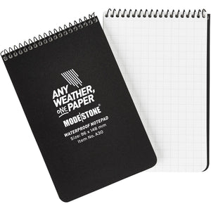 "96x148mm Top Spiral 50 Page Modestone Waterproof Notepad (6""x4"") Black"