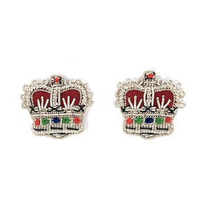 Embroidered Rank Crowns - Silver - 5/8 inch