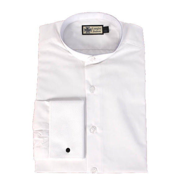 Officers White Shirt - Collarless with french cuffs