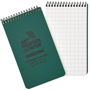 "76x130mm Top Spiral Modestone Waterproof Notepad (3""x5"" - 100 Pages/50 Sheets)- Military Model - Green"