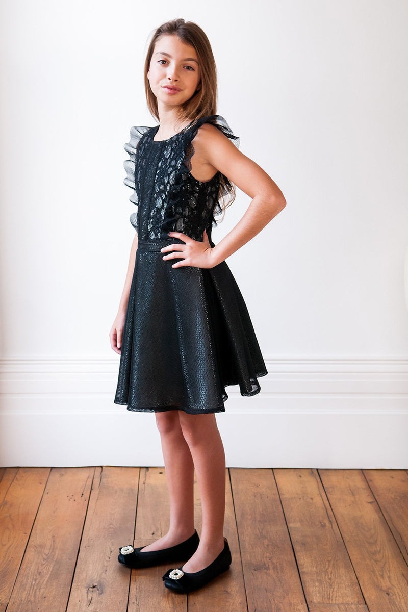 David Charles London Black Lace Techno Fashion Dress
