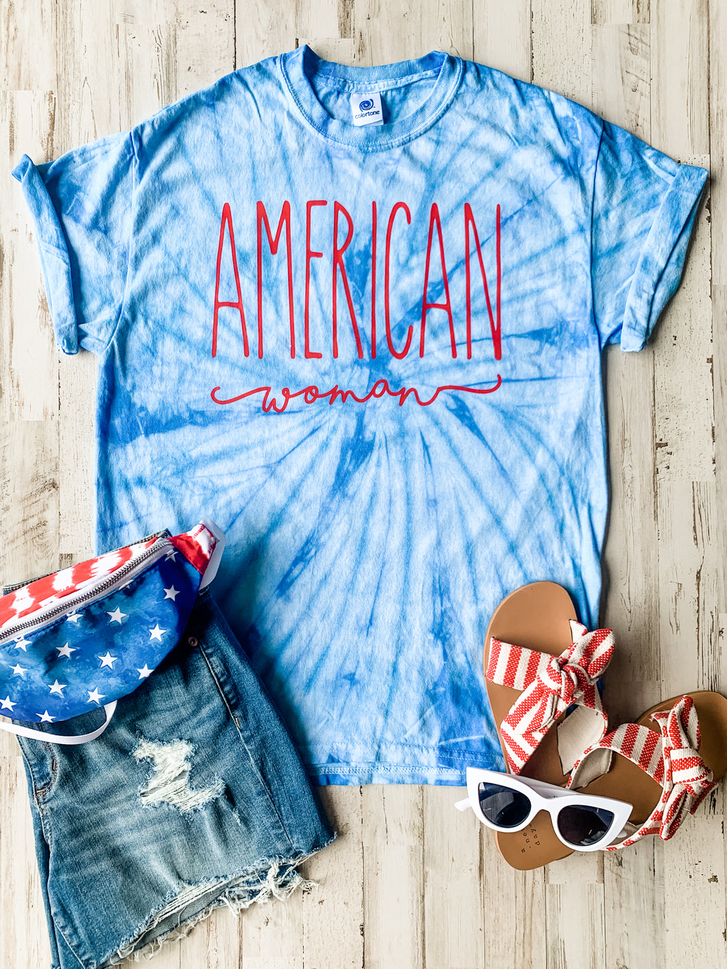 American Woman (Red Ink) Baby Blue Tie Dye Tee DROPSHIP