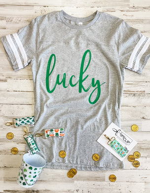 Lucky (Green Ink) Athletic Grey Jersey Tee