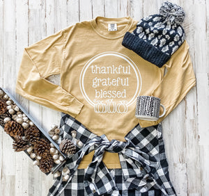 Thankful Grateful Blessed Comfort Color Tee