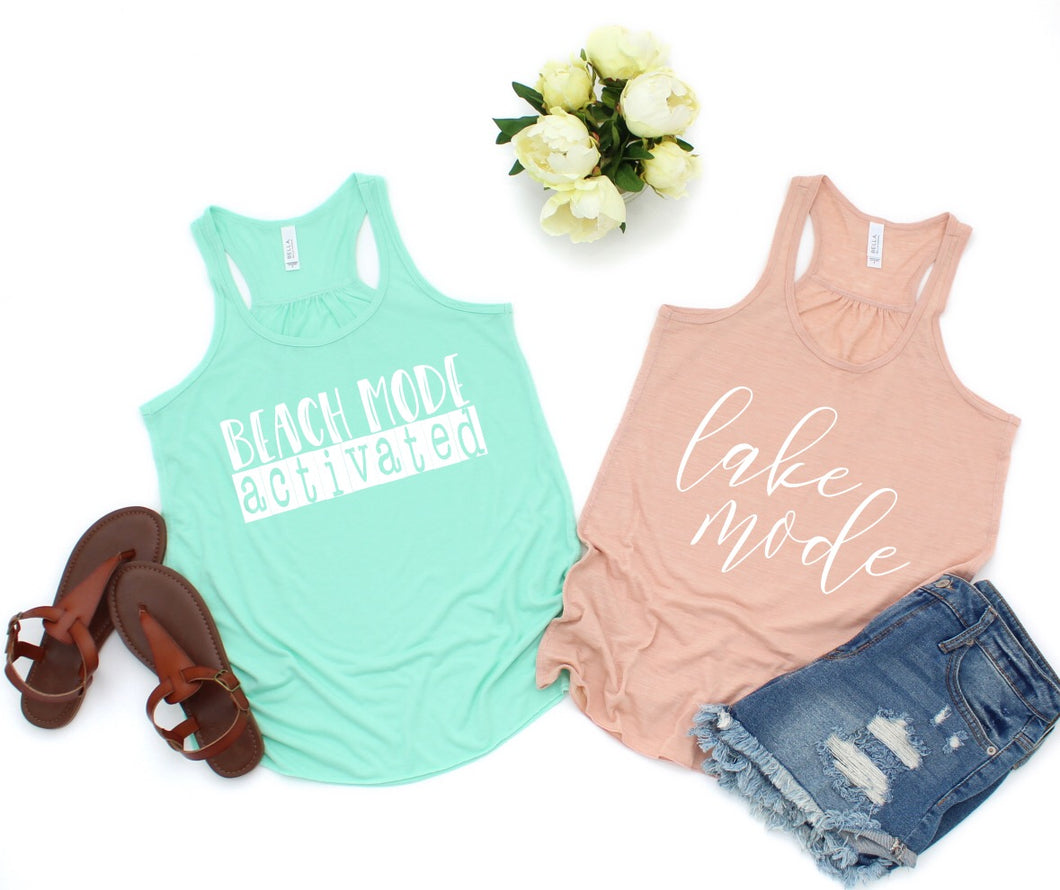 Beach Mode Activated Flowy Racerback Tank