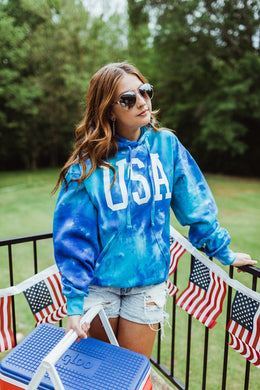USA (White Ink) BLUE Tie Dye Hoodie