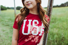 Load image into Gallery viewer, USA (White Ink) Red Bleach Dye Tee DROPSHIP