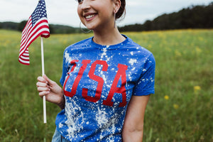 USA (Red Ink) Royal Tee Distressed DROPSHIP