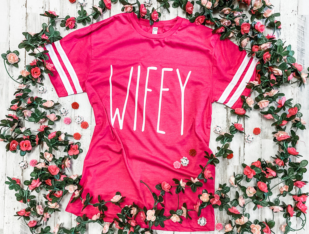 WIFEY Jersey Tee (Hot Pink) DROPSHIP