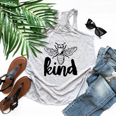 Bee Kind Racerback Tank (Athletic Grey)