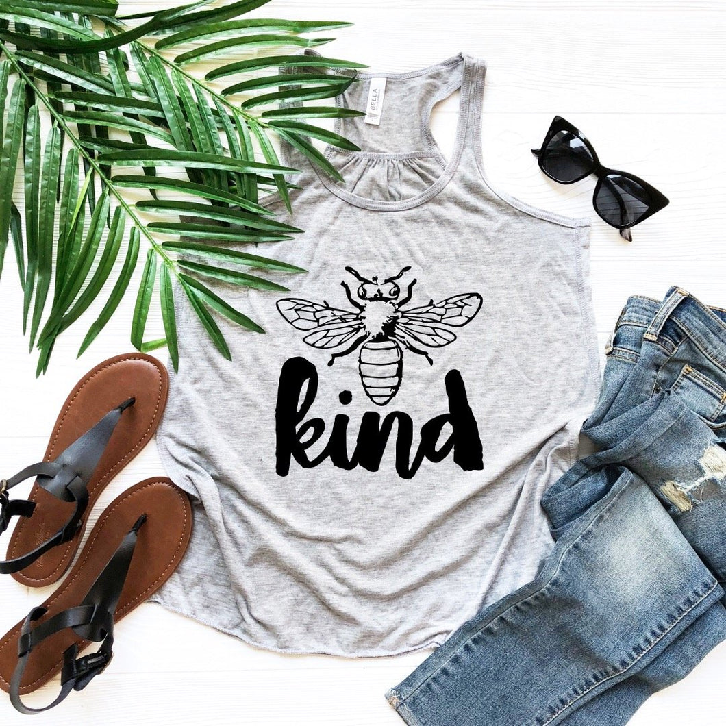 Bee Kind Racerback Tank (Athletic Grey) DROPSHIP