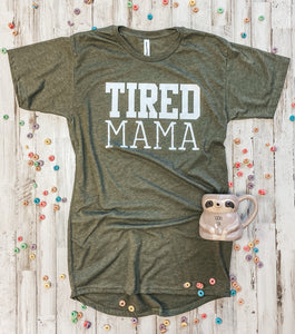Tired Mama Long Body Tee (Heather Olive) DROPSHIP