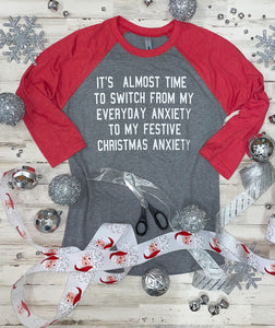 Christmas Anxiety Raglan (Red Sleeve) DROPSHIP