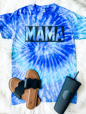 Mama (New) (Black Ink) Blue Tie Dye Tee