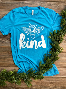 Bee Kind (white ink) Heather Aqua Blue