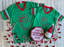 Load image into Gallery viewer, Santa's Favorite Red + Green Varsity V Neck YOUTH