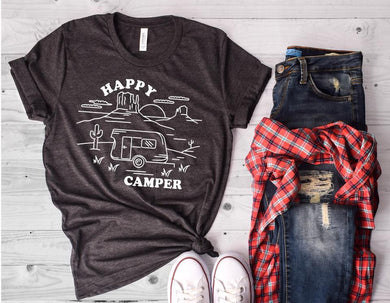 Happy Camper (Dark Grey Heather) DROPSHIP