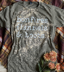 bonfires flannels & boots (Tultex Military Green Distressed) DROPSHIP